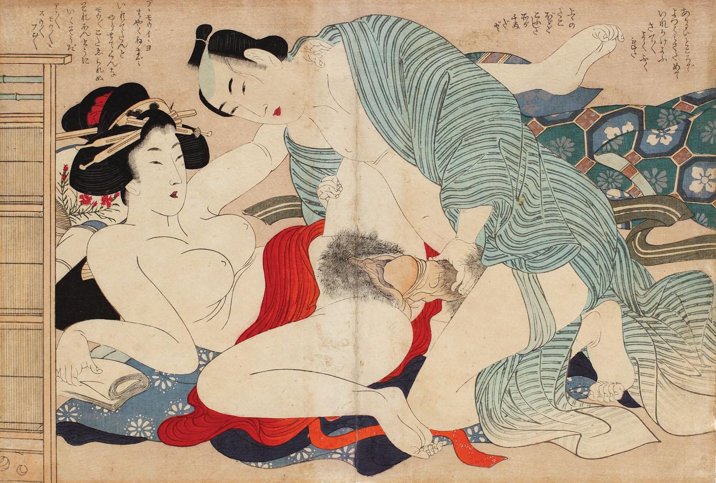 scena_erotica_shunga_realizata_cu_pigmenti_metalici_reprezentand_un_cuplu_intr-o_incapere_intima_stampa_rara_katsushika_hokusai[1]