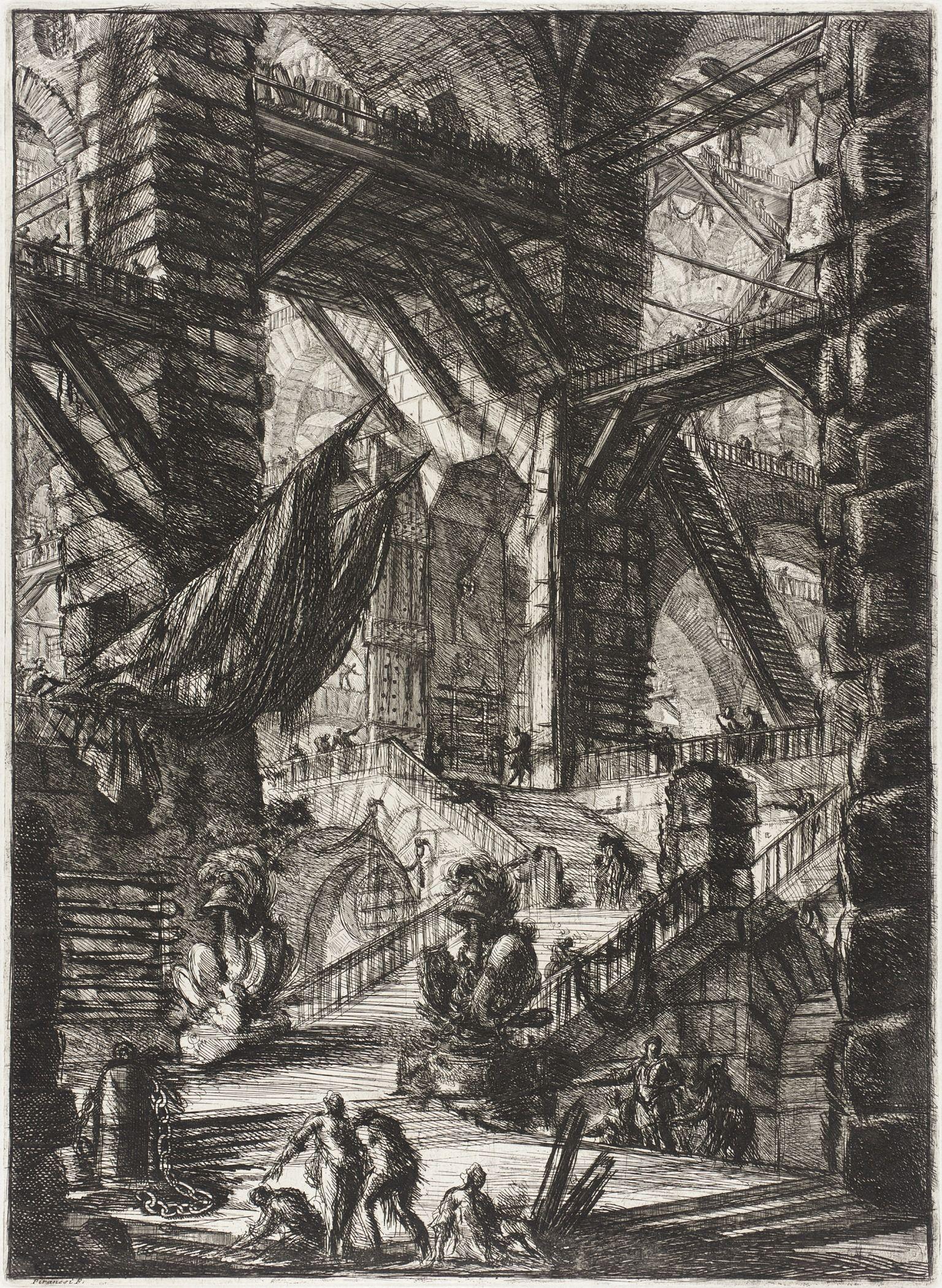 Piranesi-Carceri VIII-The Staircase with Trophies-1761
