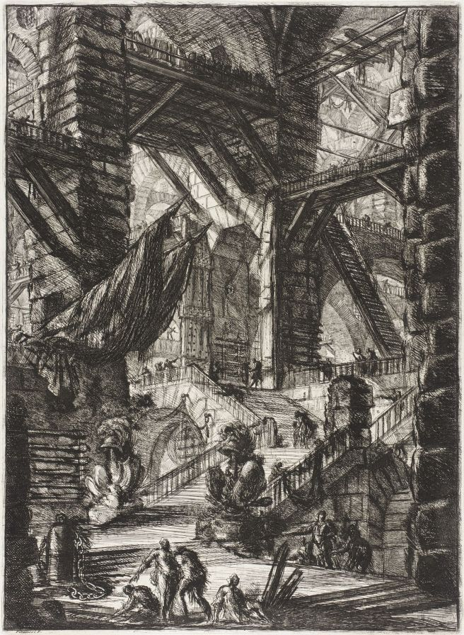 Piranesi-Carceri VIII-The Staircase with Trophies-1761