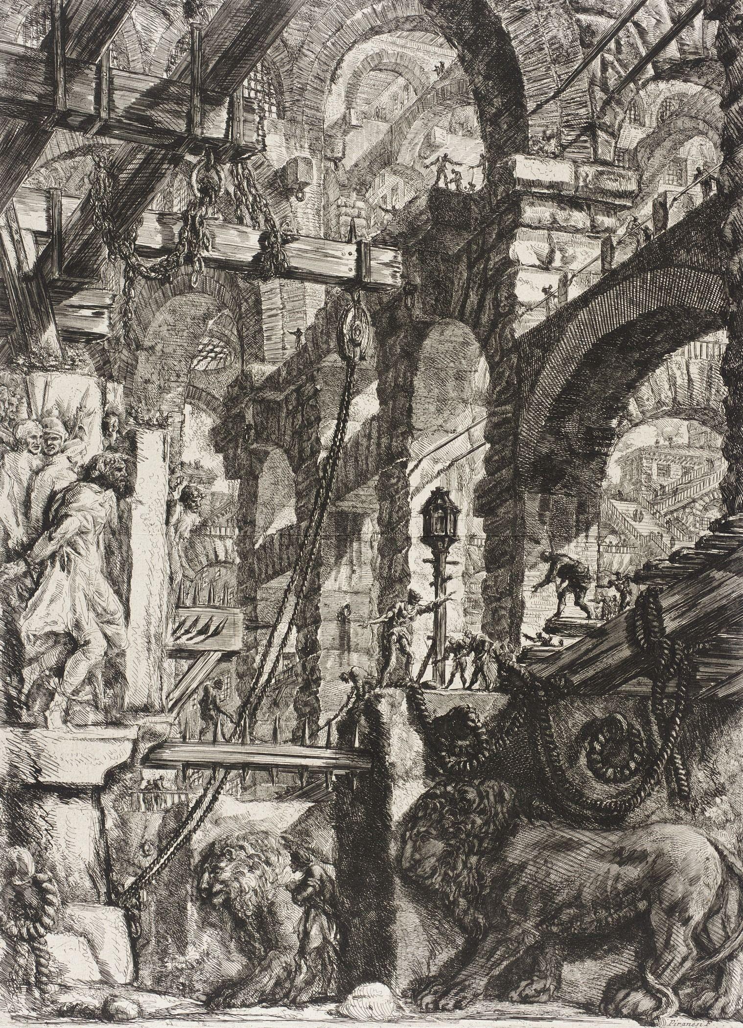 Piranesi-Carceri V-the Lion Bas Relief-1750