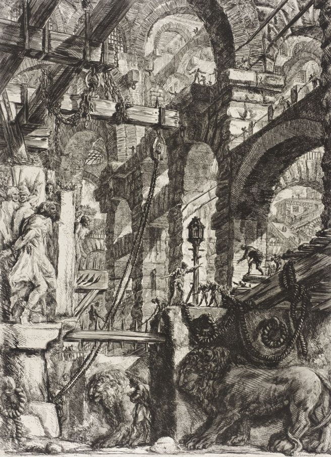 Piranesi-Carceri V-the Lion Bas Relief-1750
