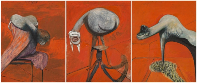 Three Studies for Figures at the Base of a Crucifixion c.1944 by Francis Bacon 1909-1992