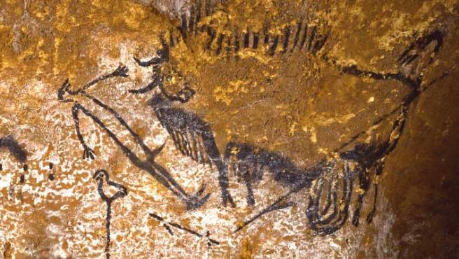Wounded Bison-Bird Headed Man-Lascaux Shaft-circa 17,000BP