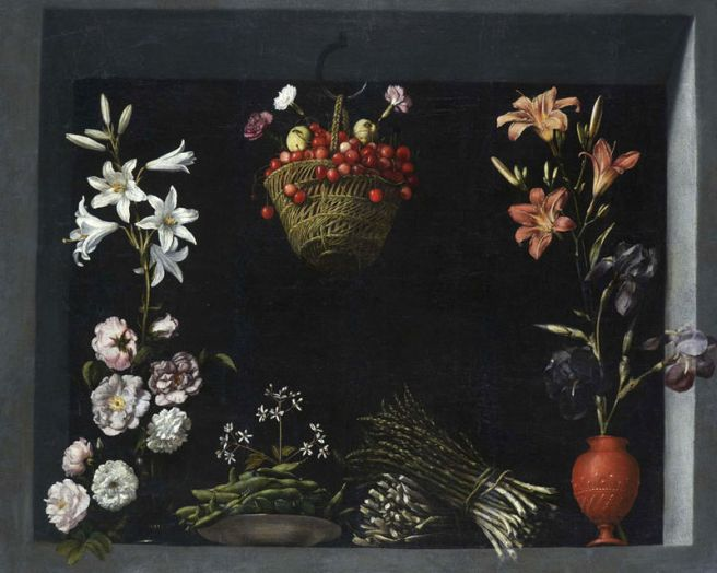 Juan Sánchez Cotán-Still life with vegetables, flowers and a basket of cherries