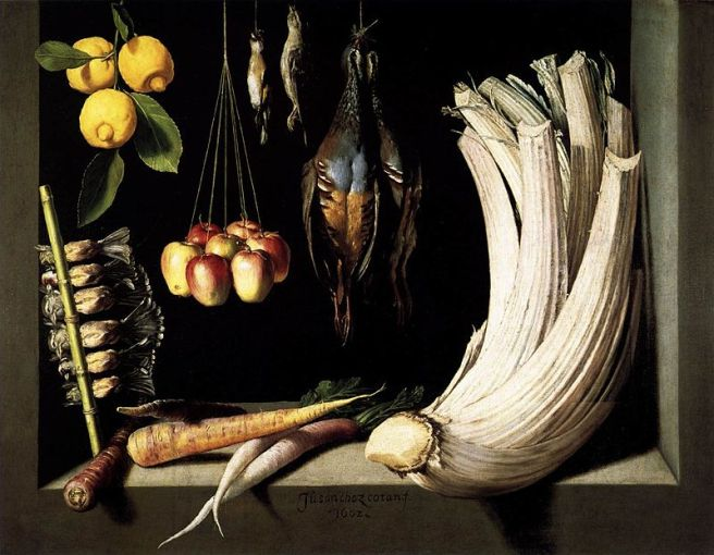 Juan Sánchez Cotán-Still Life with Game,Vegetable and Fruit-1602